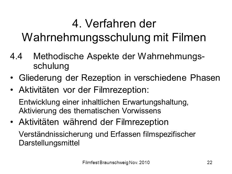 Filmfest Braunschweig Nov. 201022 4. Verfahren der Wahrnehmungsschulung mit Filmen 4.4Methodische Aspekte der Wahrnehmungs- schulung Gliederung der Re