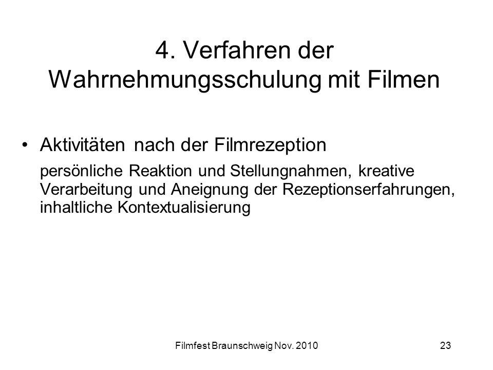 Filmfest Braunschweig Nov. 201023 4. Verfahren der Wahrnehmungsschulung mit Filmen Aktivitäten nach der Filmrezeption persönliche Reaktion und Stellun