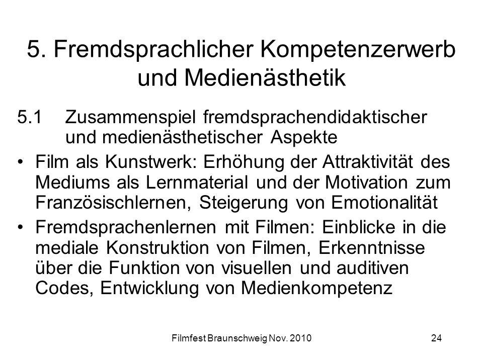 Filmfest Braunschweig Nov. 201024 5. Fremdsprachlicher Kompetenzerwerb und Medienästhetik 5.1Zusammenspiel fremdsprachendidaktischer und medienästheti