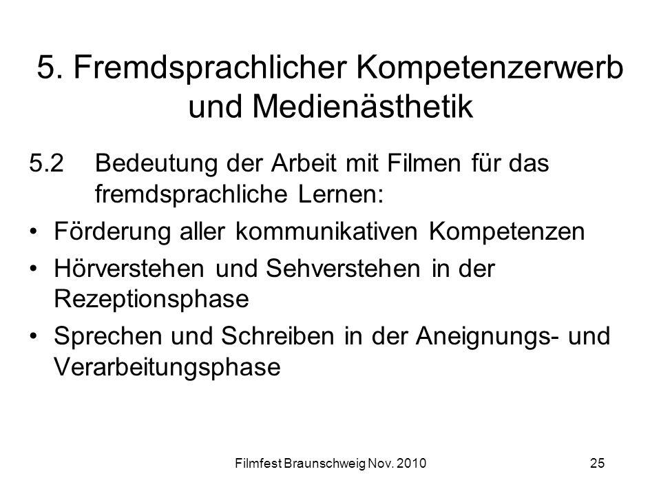Filmfest Braunschweig Nov. 201025 5. Fremdsprachlicher Kompetenzerwerb und Medienästhetik 5.2Bedeutung der Arbeit mit Filmen für das fremdsprachliche