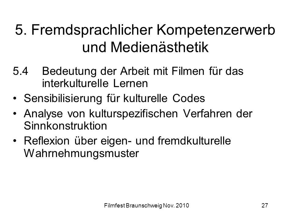 Filmfest Braunschweig Nov. 201027 5. Fremdsprachlicher Kompetenzerwerb und Medienästhetik 5.4Bedeutung der Arbeit mit Filmen für das interkulturelle L