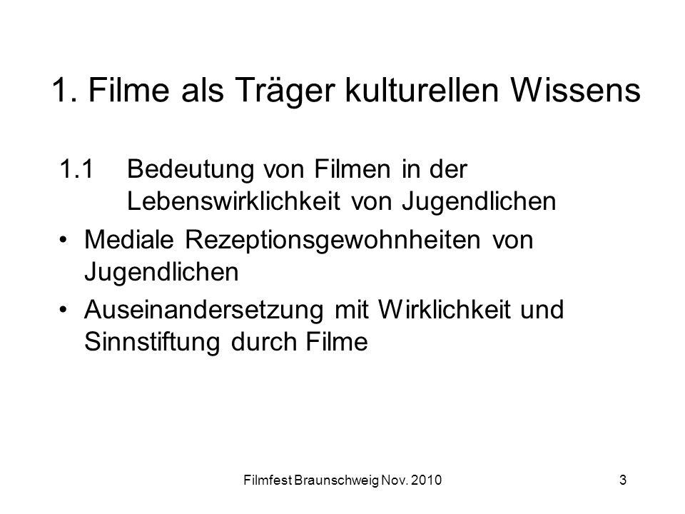 Filmfest Braunschweig Nov. 20103 1. Filme als Träger kulturellen Wissens 1.1 Bedeutung von Filmen in der Lebenswirklichkeit von Jugendlichen Mediale R