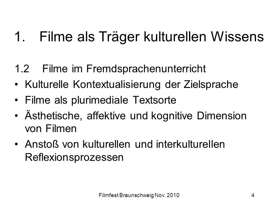 Filmfest Braunschweig Nov. 20104 1.Filme als Träger kulturellen Wissens 1.2 Filme im Fremdsprachenunterricht Kulturelle Kontextualisierung der Zielspr