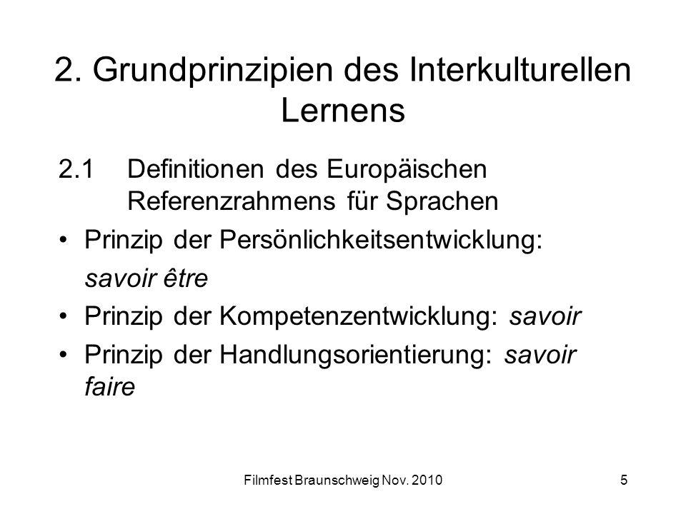 Filmfest Braunschweig Nov. 20105 2. Grundprinzipien des Interkulturellen Lernens 2.1Definitionen des Europäischen Referenzrahmens für Sprachen Prinzip