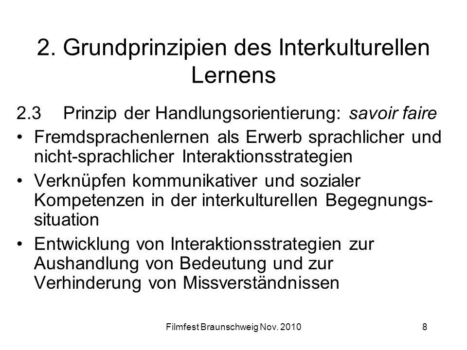 Filmfest Braunschweig Nov. 20108 2. Grundprinzipien des Interkulturellen Lernens 2.3Prinzip der Handlungsorientierung: savoir faire Fremdsprachenlerne