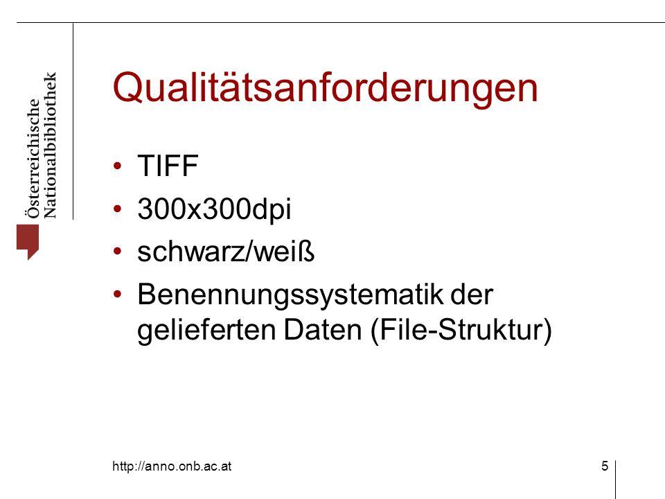 http://anno.onb.ac.at5 Qualitätsanforderungen TIFF 300x300dpi schwarz/weiß Benennungssystematik der gelieferten Daten (File-Struktur)