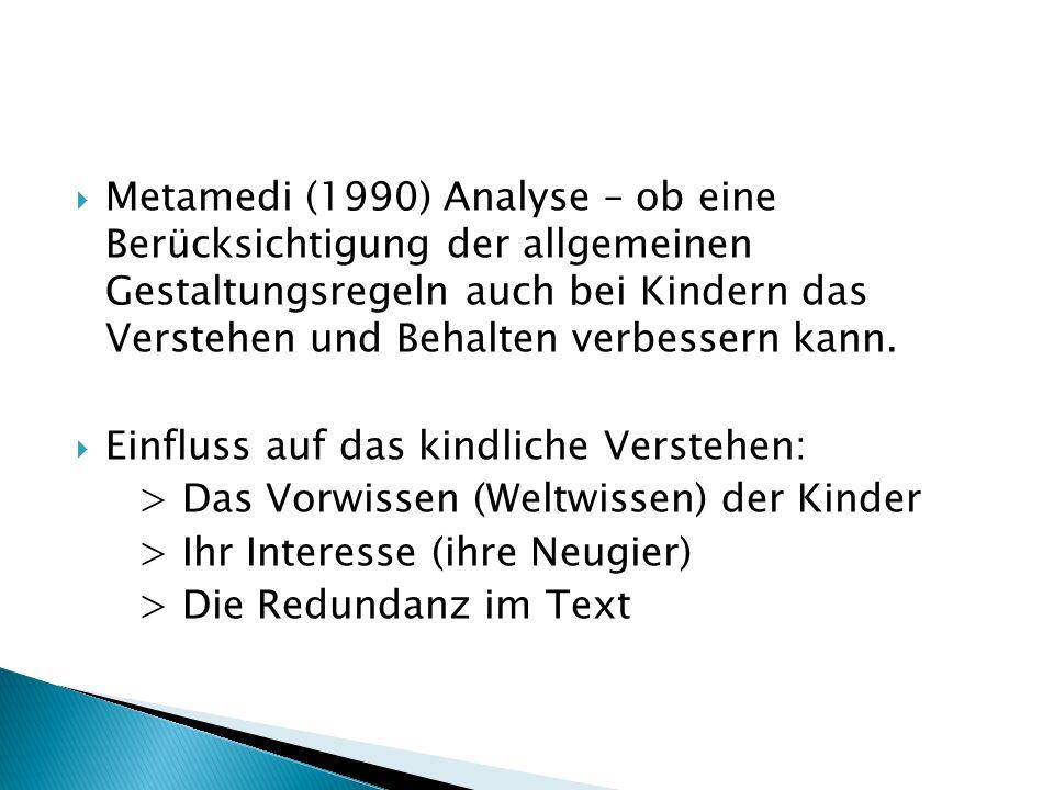 Metamedi (1990) Analyse – ob eine Berücksichtigung der allgemeinen Gestaltungsregeln auch bei Kindern das Verstehen und Behalten verbessern kann.