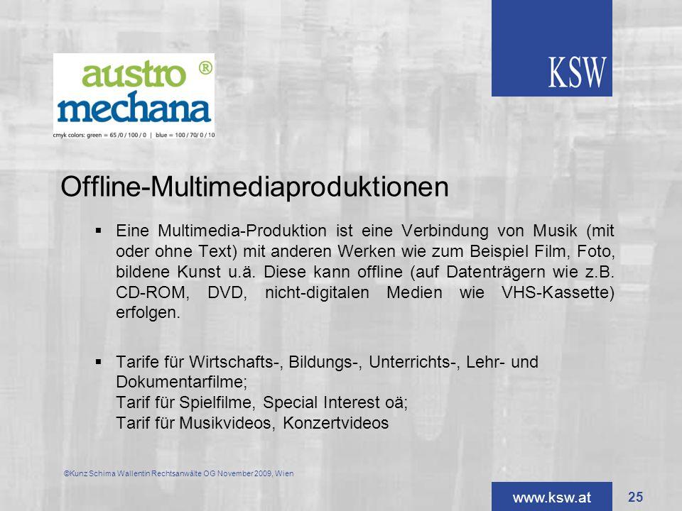 www.ksw.at Offline-Multimediaproduktionen Eine Multimedia-Produktion ist eine Verbindung von Musik (mit oder ohne Text) mit anderen Werken wie zum Bei