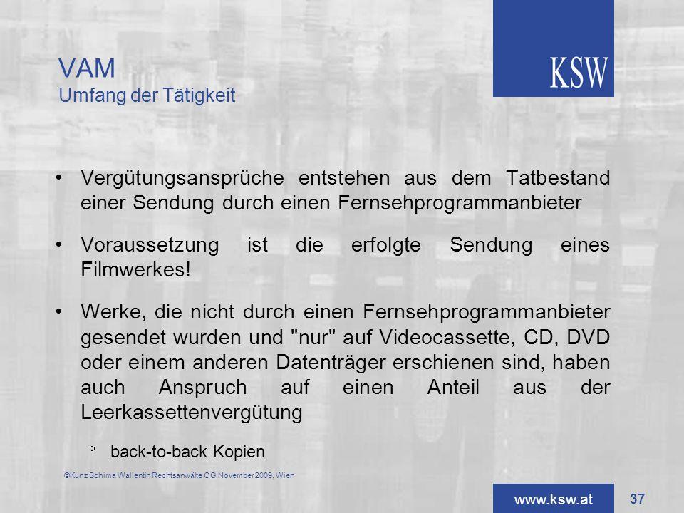 www.ksw.at Vergütungsansprüche entstehen aus dem Tatbestand einer Sendung durch einen Fernsehprogrammanbieter Voraussetzung ist die erfolgte Sendung e