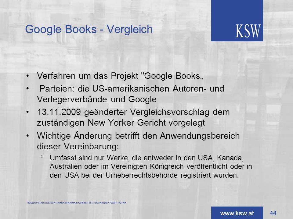 www.ksw.at Google Books - Vergleich Verfahren um das Projekt