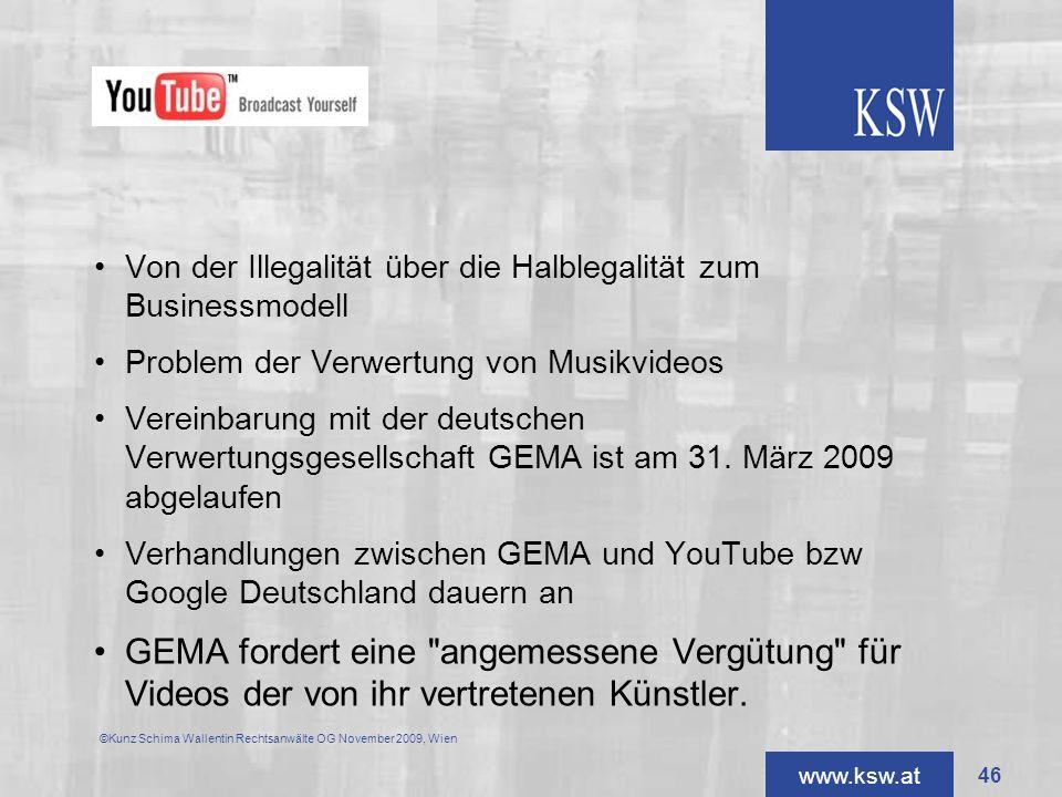 www.ksw.at Von der Illegalität über die Halblegalität zum Businessmodell Problem der Verwertung von Musikvideos Vereinbarung mit der deutschen Verwert