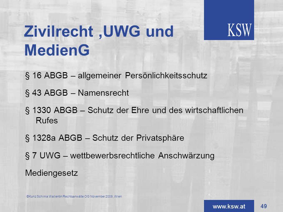 www.ksw.at Zivilrecht,UWG und MedienG § 16 ABGB – allgemeiner Persönlichkeitsschutz § 43 ABGB – Namensrecht § 1330 ABGB – Schutz der Ehre und des wirt