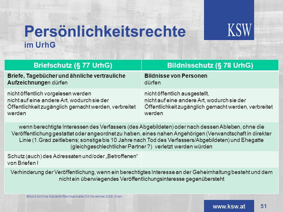 www.ksw.at Persönlichkeitsrechte im UrhG Briefschutz (§ 77 UrhG)Bildnisschutz (§ 78 UrhG) Briefe, Tagebücher und ähnliche vertrauliche Aufzeichnungen