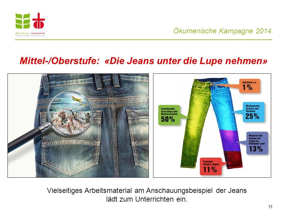 Ökumenische Kampagne 2014 15 Mittel-/Oberstufe: «Die Jeans unter die Lupe nehmen» Vielseitiges Arbeitsmaterial am Anschauungsbeispiel der Jeans lädt z