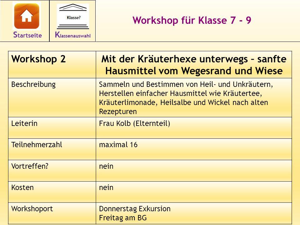 13 Workshop für Klasse 7 - 9 Workshop 2Mit der Kräuterhexe unterwegs – sanfte Hausmittel vom Wegesrand und Wiese BeschreibungSammeln und Bestimmen von