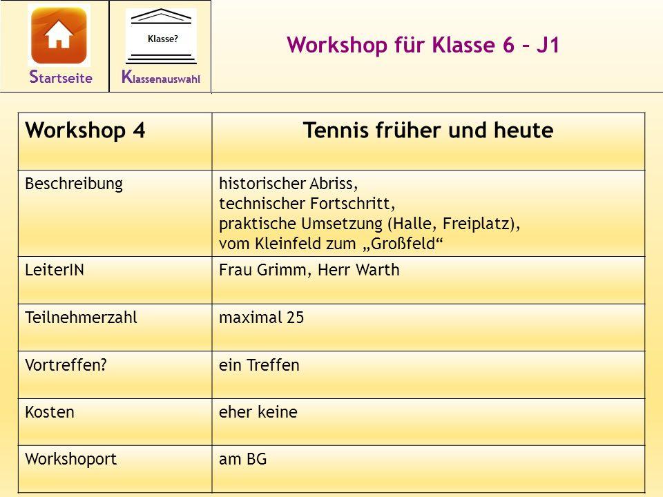 15 Workshop für Klasse 6 – J1 Workshop 4Tennis früher und heute Beschreibunghistorischer Abriss, technischer Fortschritt, praktische Umsetzung (Halle,