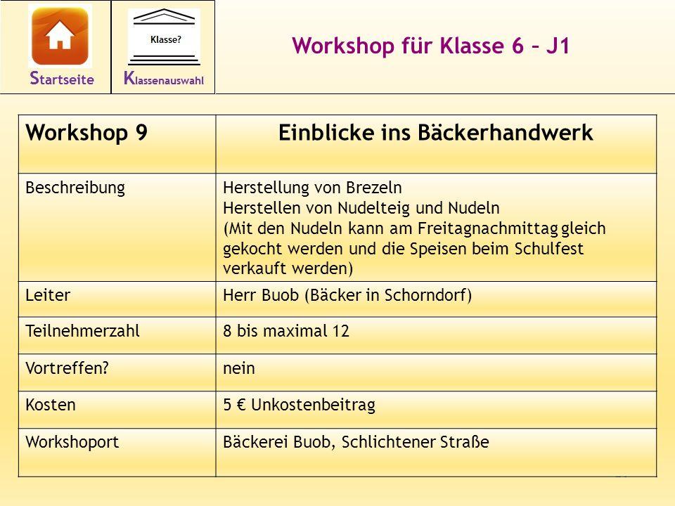 20 Workshop für Klasse 6 – J1 Workshop 9Einblicke ins Bäckerhandwerk BeschreibungHerstellung von Brezeln Herstellen von Nudelteig und Nudeln (Mit den