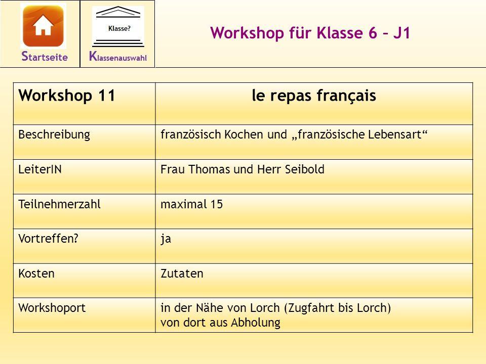 Workshop für Klasse 6 – J1 Workshop 11le repas français Beschreibungfranzösisch Kochen und französische Lebensart LeiterINFrau Thomas und Herr Seibold