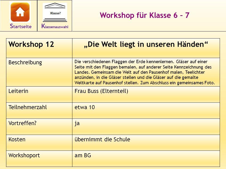 23 Workshop für Klasse 6 – 7 Workshop 12Die Welt liegt in unseren Händen Beschreibung Die verschiedenen Flaggen der Erde kennenlernen. Gläser auf eine
