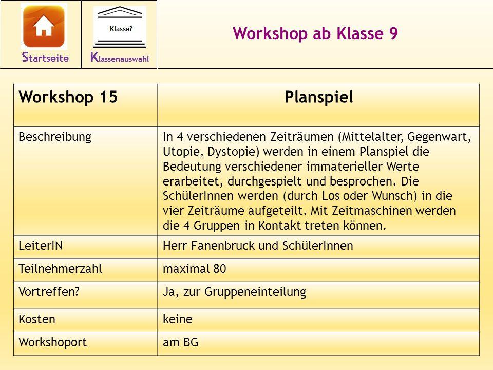 26 Workshop ab Klasse 9 Workshop 15Planspiel BeschreibungIn 4 verschiedenen Zeiträumen (Mittelalter, Gegenwart, Utopie, Dystopie) werden in einem Plan
