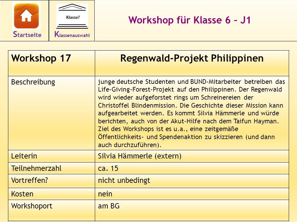 28 Workshop für Klasse 6 – J1 Workshop 17Regenwald-Projekt Philippinen Beschreibung junge deutsche Studenten und BUND-Mitarbeiter betreiben das Life-G