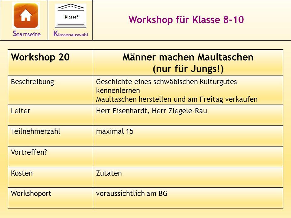 31 Workshop für Klasse 8-10 Workshop 20Männer machen Maultaschen (nur für Jungs!) BeschreibungGeschichte eines schwäbischen Kulturgutes kennenlernen M