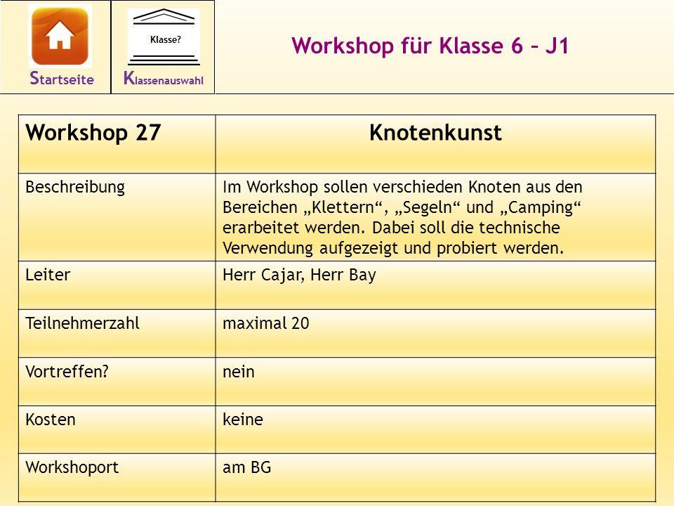 38 Workshop für Klasse 6 – J1 Workshop 27Knotenkunst BeschreibungIm Workshop sollen verschieden Knoten aus den Bereichen Klettern, Segeln und Camping