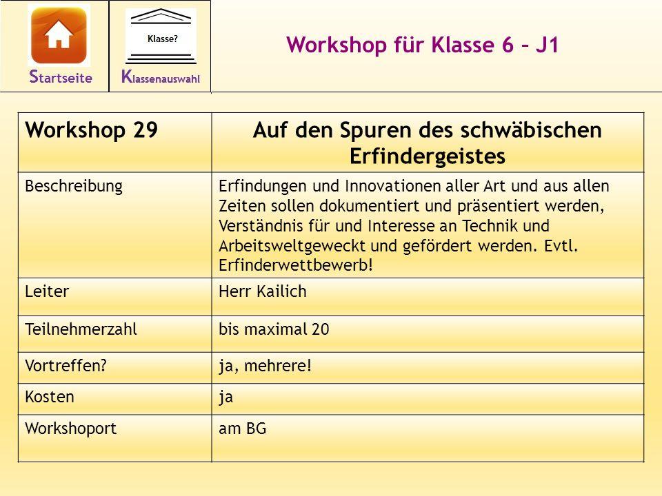 Workshop für Klasse 6 – J1 Workshop 29Auf den Spuren des schwäbischen Erfindergeistes BeschreibungErfindungen und Innovationen aller Art und aus allen