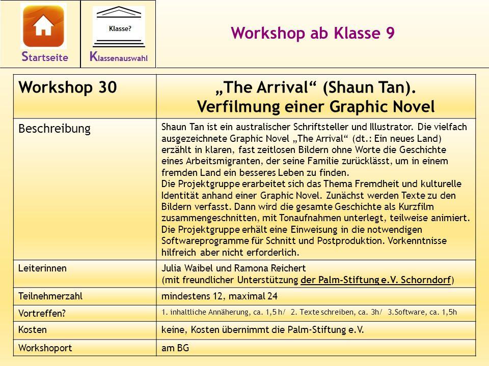 41 Workshop ab Klasse 9 Workshop 30The Arrival (Shaun Tan). Verfilmung einer Graphic Novel Beschreibung Shaun Tan ist ein australischer Schriftsteller