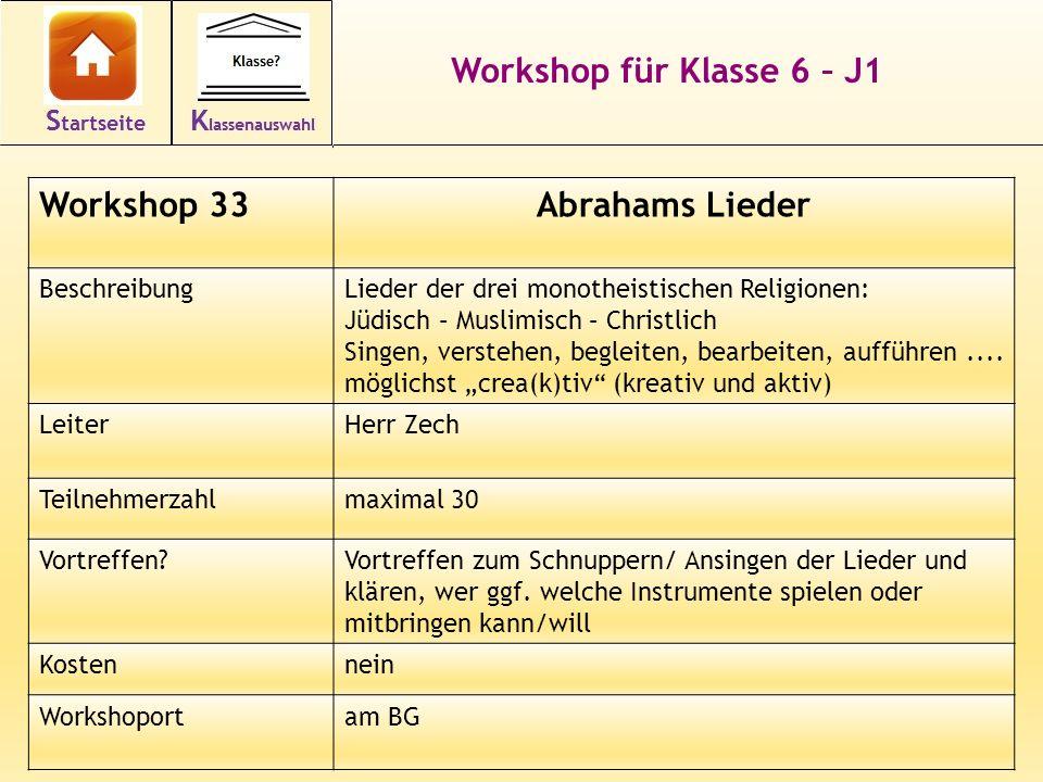 44 Workshop für Klasse 6 – J1 Workshop 33Abrahams Lieder BeschreibungLieder der drei monotheistischen Religionen: Jüdisch – Muslimisch – Christlich Si