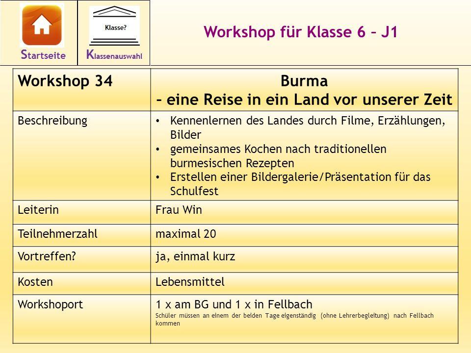 45 Workshop für Klasse 6 – J1 Workshop 34Burma – eine Reise in ein Land vor unserer Zeit Beschreibung Kennenlernen des Landes durch Filme, Erzählungen