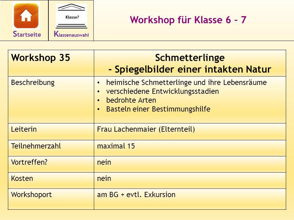 46 Workshop für Klasse 6 – 7 Workshop 35Schmetterlinge - Spiegelbilder einer intakten Natur Beschreibung heimische Schmetterlinge und ihre Lebensräume