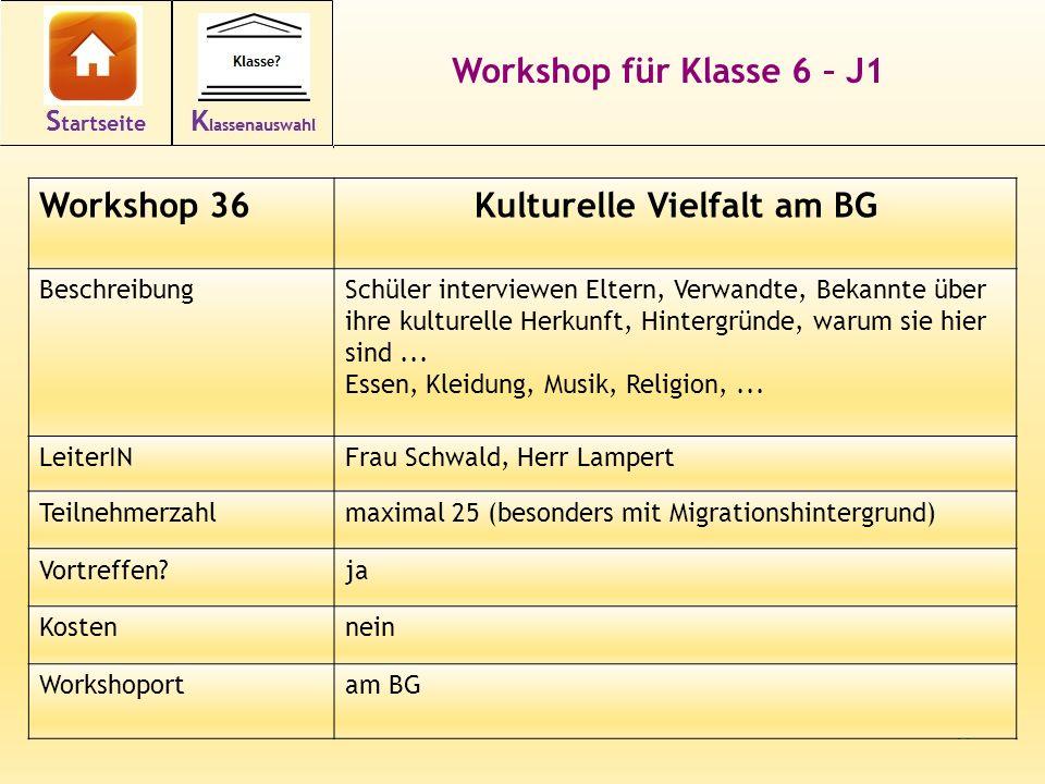 47 Workshop für Klasse 6 – J1 Workshop 36Kulturelle Vielfalt am BG BeschreibungSchüler interviewen Eltern, Verwandte, Bekannte über ihre kulturelle He