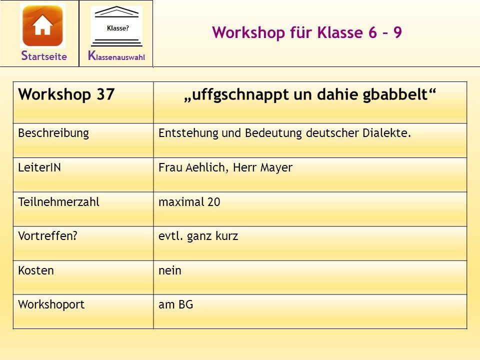 Workshop für Klasse 6 – 9 Workshop 37uffgschnappt un dahie gbabbelt BeschreibungEntstehung und Bedeutung deutscher Dialekte. LeiterINFrau Aehlich, Her
