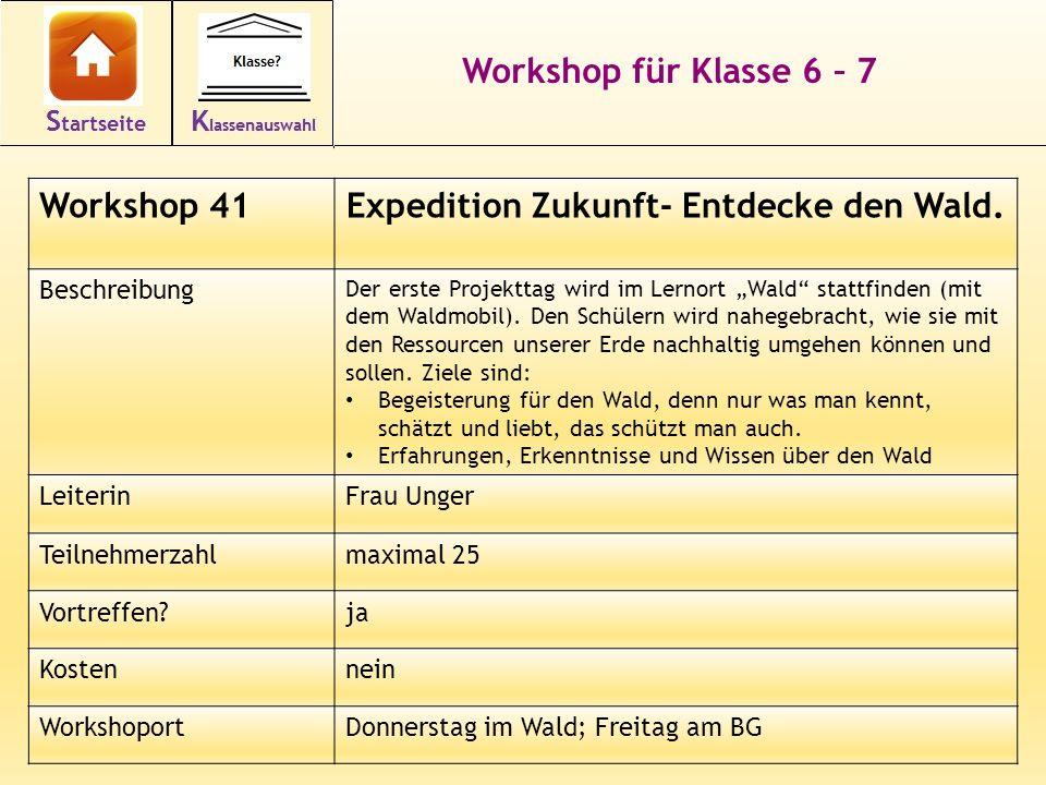 Workshop für Klasse 6 – 7 Workshop 41Expedition Zukunft- Entdecke den Wald. Beschreibung Der erste Projekttag wird im Lernort Wald stattfinden (mit de