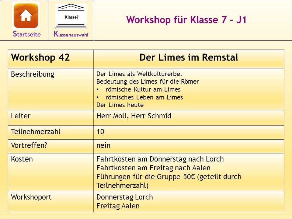 Workshop für Klasse 7 – J1 Workshop 42Der Limes im Remstal Beschreibung Der Limes als Weltkulturerbe. Bedeutung des Limes für die Römer römische Kultu