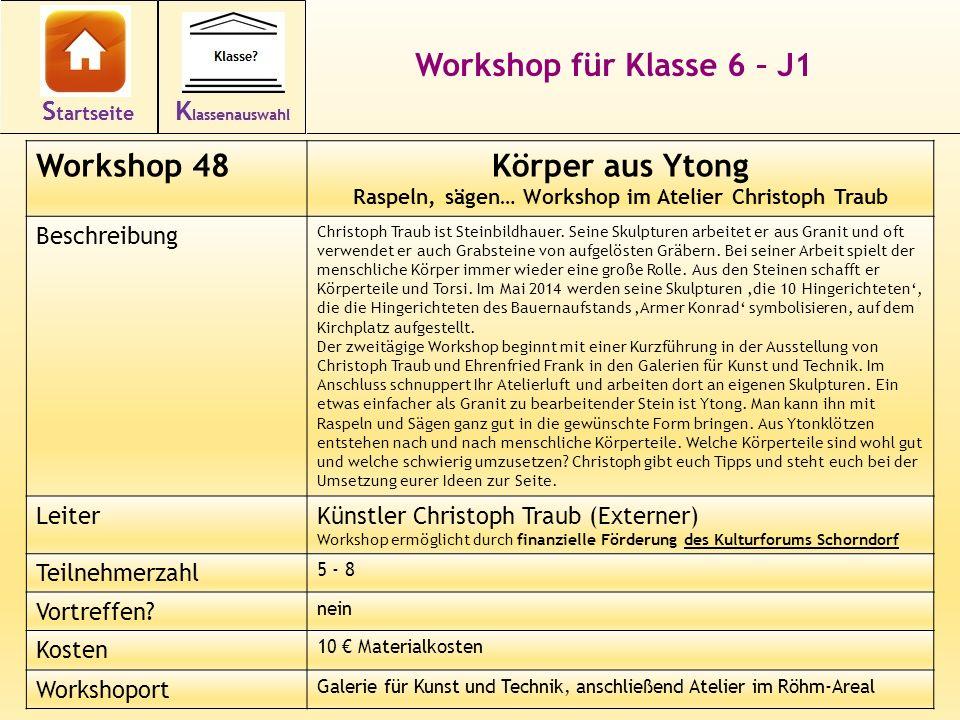 Workshop für Klasse 6 – J1 Workshop 48Körper aus Ytong Raspeln, sägen… Workshop im Atelier Christoph Traub Beschreibung Christoph Traub ist Steinbildh