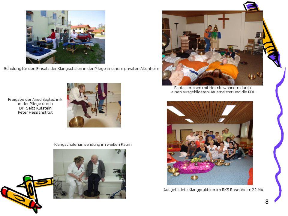 Freigabe der Anschlagtechnik in der Pflege durch Dr. Seitz Kufstein Peter Hess Institut Klangschalenanwendung im weißen Raum Ausgebildete Klangpraktik