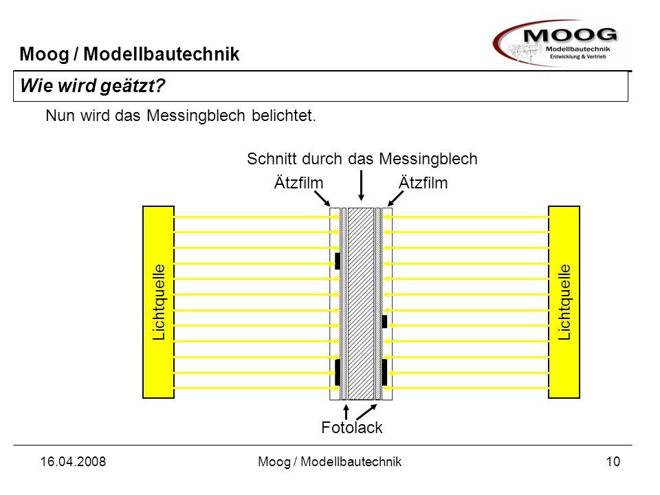 Moog / Modellbautechnik 16.04.2008Moog / Modellbautechnik10 Wie wird geätzt? Schnitt durch das Messingblech Nun wird das Messingblech belichtet. Licht
