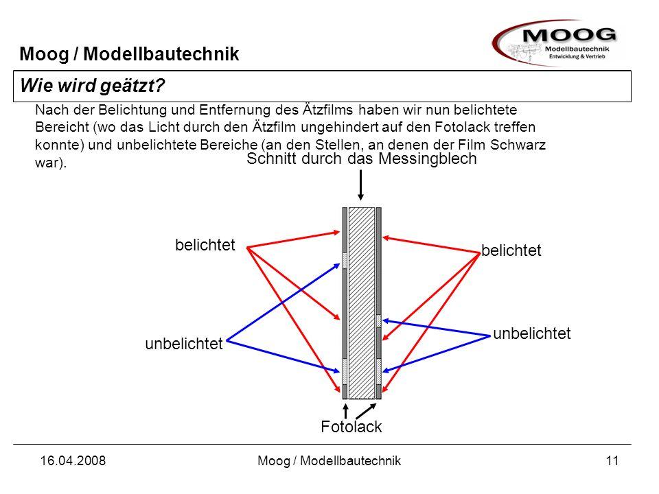 Moog / Modellbautechnik 16.04.2008Moog / Modellbautechnik11 Wie wird geätzt? Schnitt durch das Messingblech Nach der Belichtung und Entfernung des Ätz