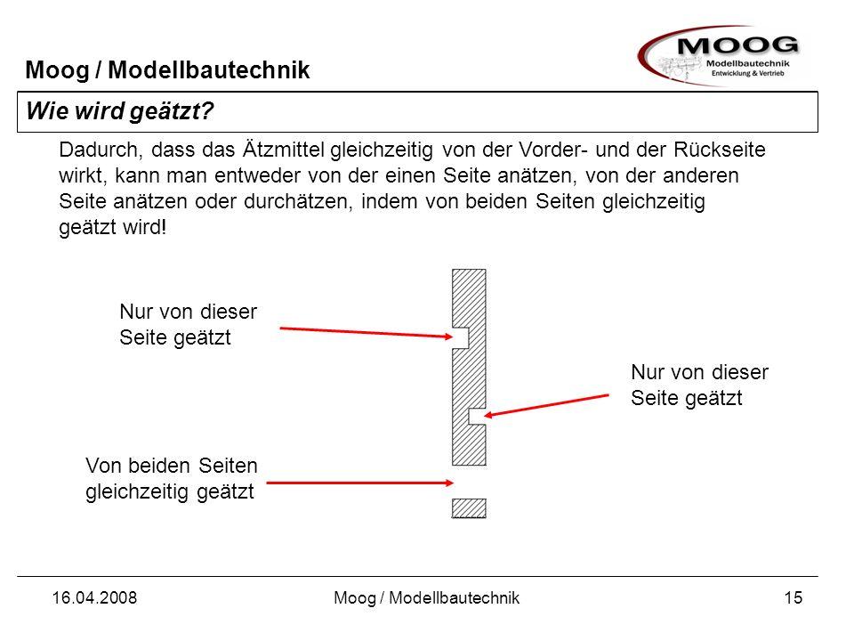 Moog / Modellbautechnik 16.04.2008Moog / Modellbautechnik15 Wie wird geätzt? Dadurch, dass das Ätzmittel gleichzeitig von der Vorder- und der Rückseit