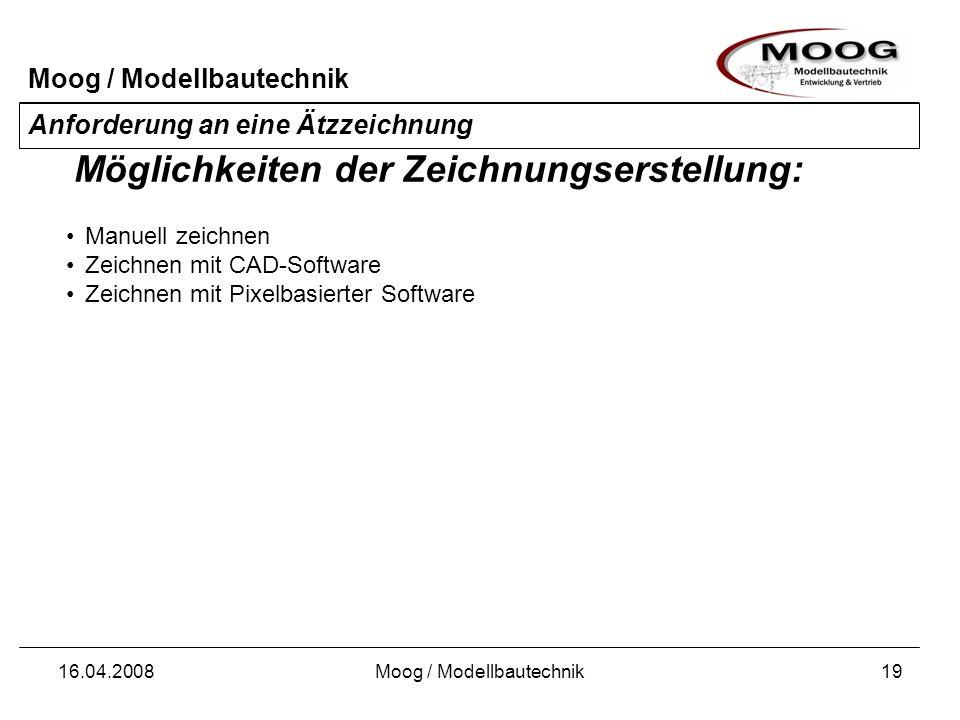 Moog / Modellbautechnik 16.04.2008Moog / Modellbautechnik20 Anforderung an eine Ätzzeichnung Manuelles Zeichnen mittels deckendem Tusche-Stift (-) Filme für Vorderseite und Rückseite müssen deckungsgleich einzeln gezeichnet werden (-) Zeichnungen müssen abfotografiert werden (-) Manuelle Zeichnungserstellung: