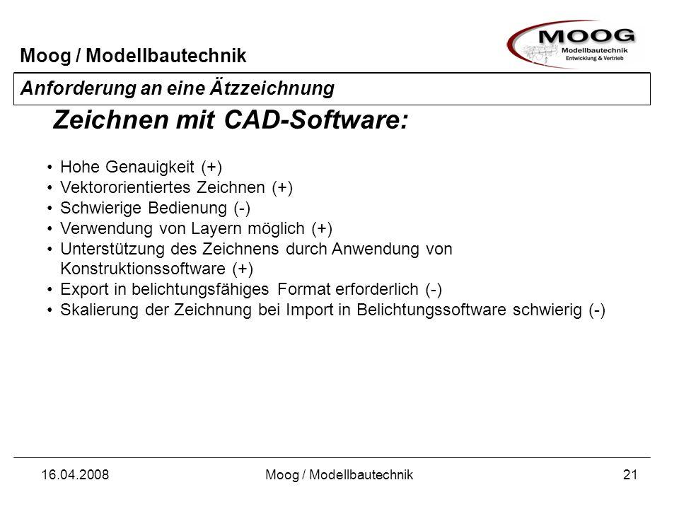 Moog / Modellbautechnik 16.04.2008Moog / Modellbautechnik21 Anforderung an eine Ätzzeichnung Hohe Genauigkeit (+) Vektororientiertes Zeichnen (+) Schw