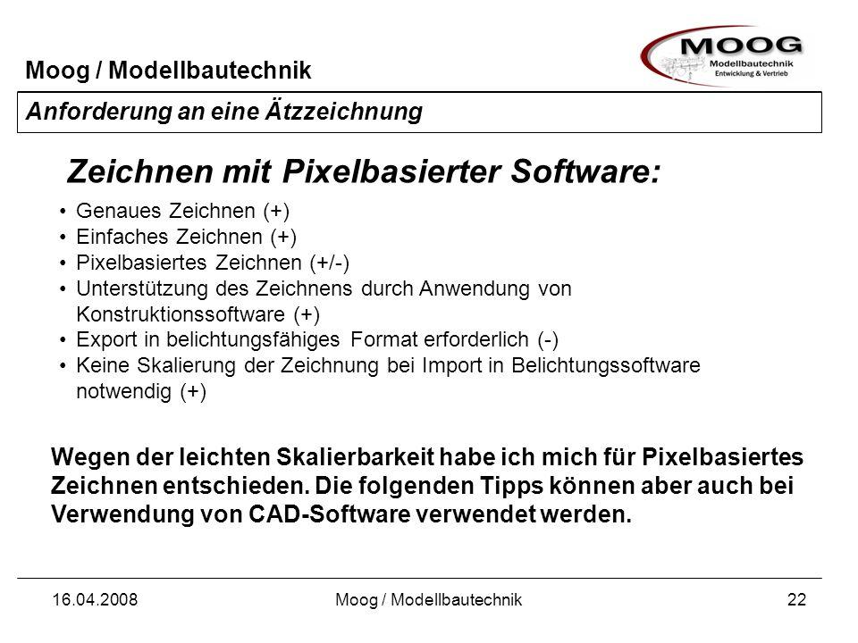 Moog / Modellbautechnik 16.04.2008Moog / Modellbautechnik22 Anforderung an eine Ätzzeichnung Genaues Zeichnen (+) Einfaches Zeichnen (+) Pixelbasierte