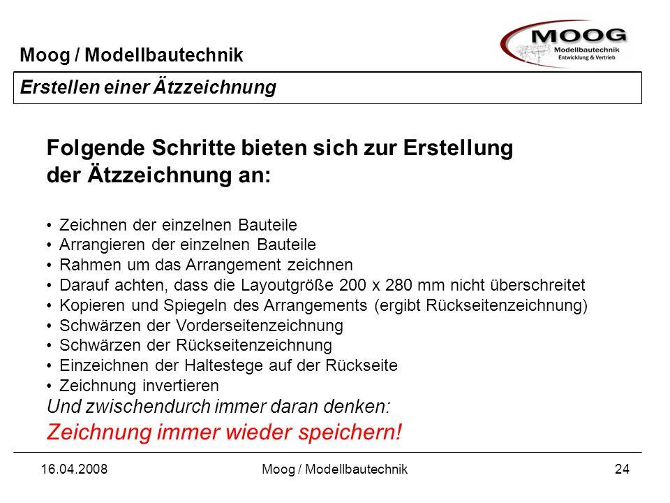 Moog / Modellbautechnik 16.04.2008Moog / Modellbautechnik24 Erstellen einer Ätzzeichnung Folgende Schritte bieten sich zur Erstellung der Ätzzeichnung