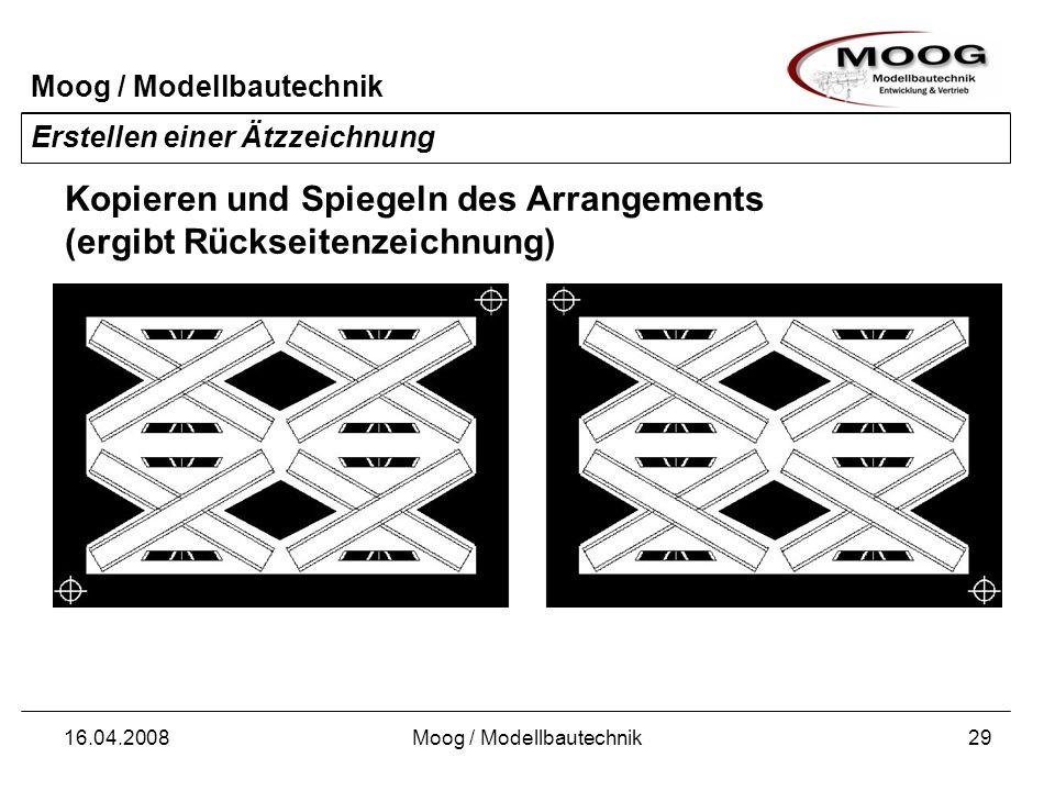 Moog / Modellbautechnik 16.04.2008Moog / Modellbautechnik29 Erstellen einer Ätzzeichnung Kopieren und Spiegeln des Arrangements (ergibt Rückseitenzeic
