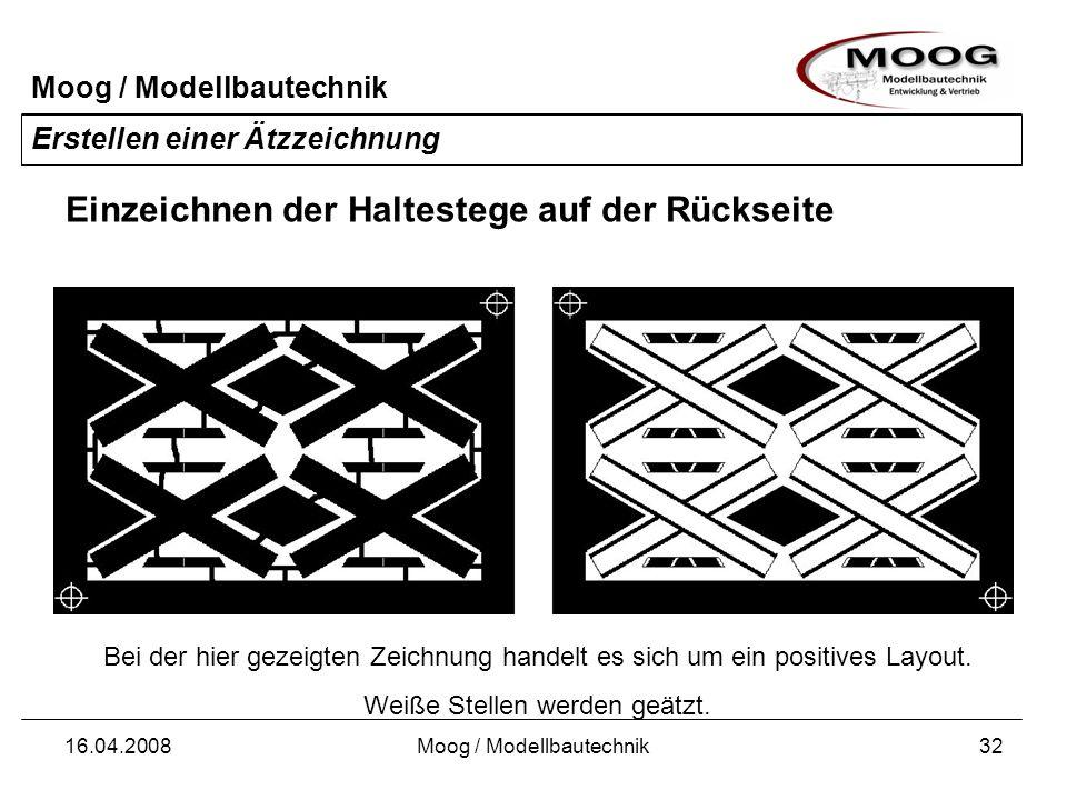 Moog / Modellbautechnik 16.04.2008Moog / Modellbautechnik32 Erstellen einer Ätzzeichnung Einzeichnen der Haltestege auf der Rückseite Bei der hier gez