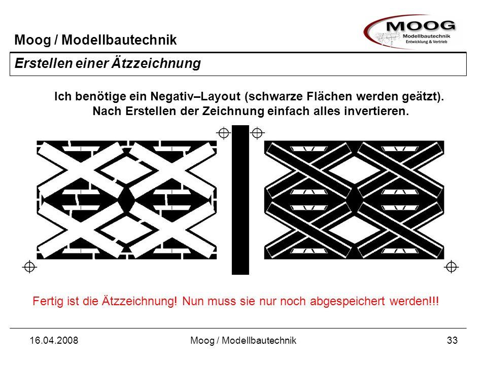 Moog / Modellbautechnik 16.04.2008Moog / Modellbautechnik33 Erstellen einer Ätzzeichnung Fertig ist die Ätzzeichnung! Nun muss sie nur noch abgespeich