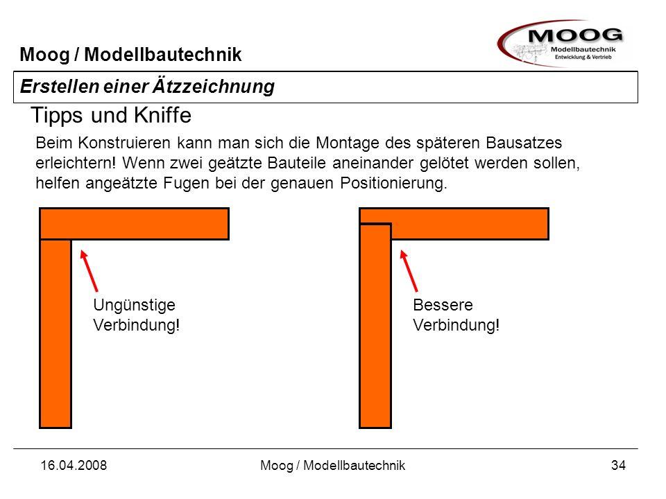 Moog / Modellbautechnik 16.04.2008Moog / Modellbautechnik34 Erstellen einer Ätzzeichnung Tipps und Kniffe Beim Konstruieren kann man sich die Montage