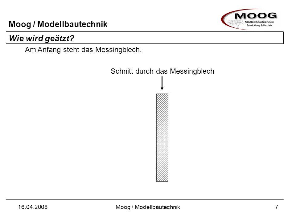 Moog / Modellbautechnik 16.04.2008Moog / Modellbautechnik7 Schnitt durch das Messingblech Wie wird geätzt? Am Anfang steht das Messingblech.